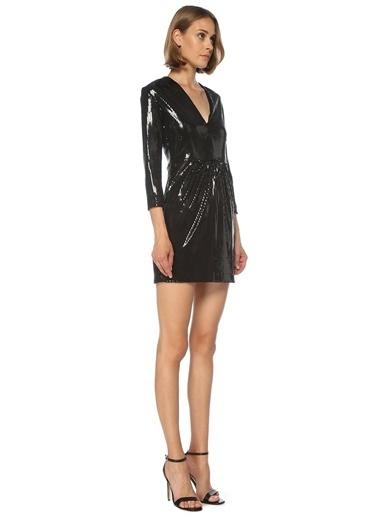 Beymen Club 101536269 V Yaka Uzun Kol Işlemeli Mini Kokteyl Kadın Elbise Siyah
